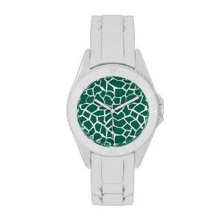 Estampado de animales verde lindo de la jirafa relojes de pulsera