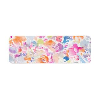 Estampado de flores abstracto colorido de la etiqueta de remitente