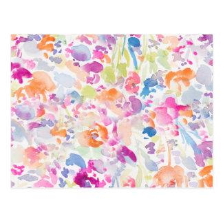 Estampado de flores abstracto colorido de la postal