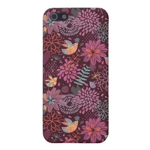 Estampado de flores abstracto con los pájaros iPhone 5 carcasa