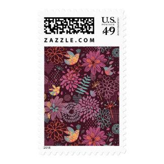 Estampado de flores abstracto con los pájaros franqueo