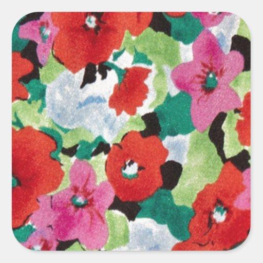 Estampado de flores abstracto del PJ. Pegatina Cuadrada