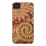 Estampado de flores abstracto del rojo y del oro iPhone 4 cárcasa