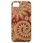 Estampado de flores abstracto del rojo y del oro iPhone 5 protector