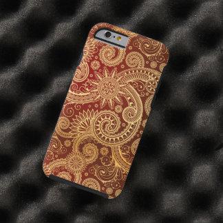 Estampado de flores abstracto del rojo y del oro funda de iPhone 6 tough