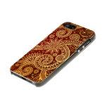 Estampado de flores abstracto del rojo y del oro carcasa de iphone 5 incipio feather shine