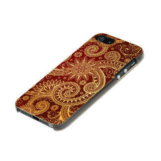 Estampado de flores abstracto del rojo y del oro funda para iPhone 5 incipio feather shine