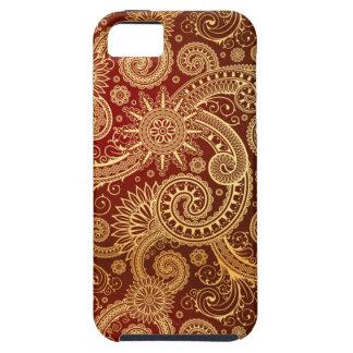 Estampado de flores abstracto del rojo y del oro iPhone 5 carcasas