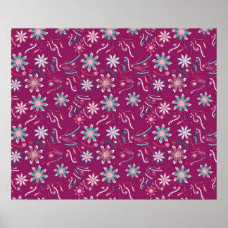 Estampado de flores abstracto del rosa del trullo póster