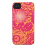 Estampado de flores abstracto del vintage iPhone 4 Case-Mate protector