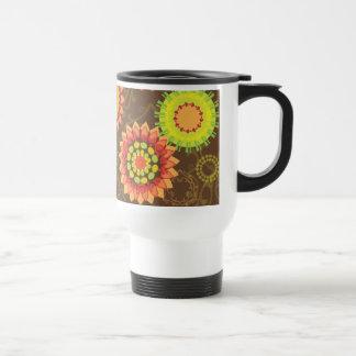 Estampado de flores abstracto retro enrrollado de  taza de café