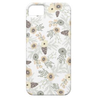 Estampado de flores acogedor del invierno iPhone 5 carcasas