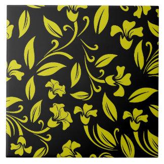 Estampado de flores amarillo azulejo cuadrado grande
