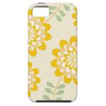Estampado de flores amarillo elegante - crema iPhone 5 Case-Mate carcasas