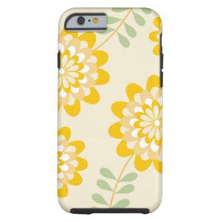 Estampado de flores amarillo elegante - crema funda resistente iPhone 6