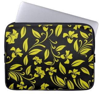 Estampado de flores amarillo fundas computadoras