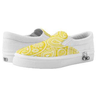 Estampado de flores amarillo retro de Paisley Zapatillas
