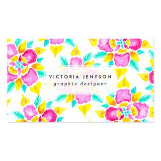 Estampado de flores amarillo rosado pintado a mano tarjetas de visita