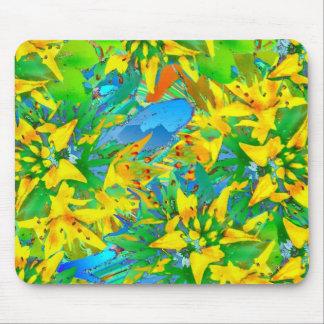 Estampado de flores amarillo tropical de Sedum Tapete De Ratones