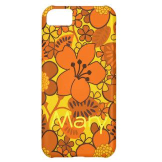 Estampado de flores amarillo y anaranjado soleado