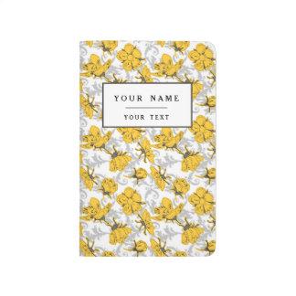 Estampado de flores amarillo y gris de Sunglow del Cuaderno