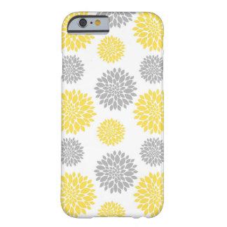 Estampado de flores amarillo y gris del Peony Funda Barely There iPhone 6