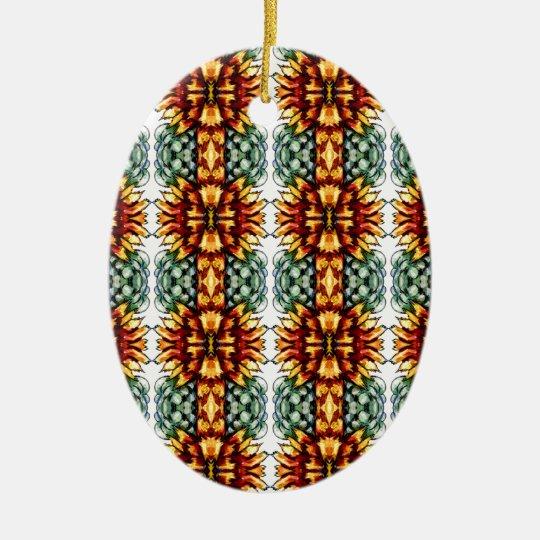 Estampado de flores amarillo y verde grande adorno navideño ovalado de cerámica