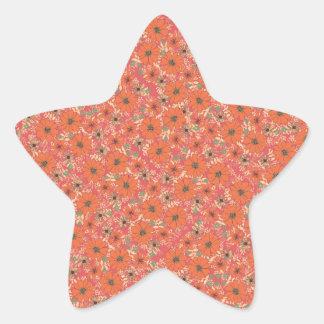 Estampado de flores anaranjado caliente pegatina en forma de estrella