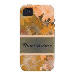 Estampado de flores anaranjado vibe iPhone 4 carcasa