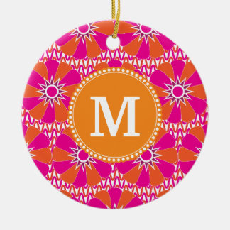 Estampado de flores anaranjado rosado personalizad ornaments para arbol de navidad