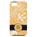 Estampado de flores anaranjado y blanco con inicia iPhone 5 Case-Mate funda