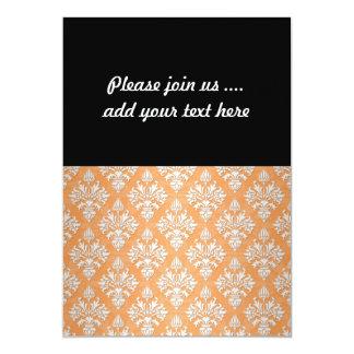 """Estampado de flores anaranjado y blanco del invitación 5"""" x 7"""""""