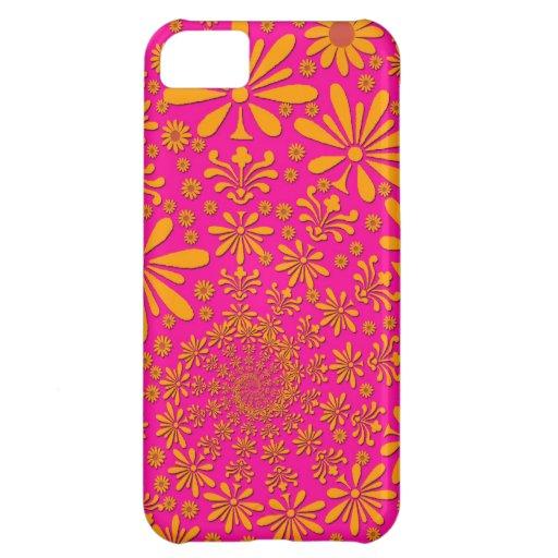 Estampado de flores anaranjado y rosado funda para iPhone 5C