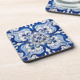 Estampado de flores antiguo de la teja de Azulejo Posavasos De Bebidas