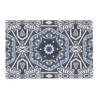 Estampado de flores antiguo elegante del azul de salvamanteles