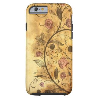Estampado de flores antiguo funda resistente iPhone 6