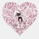 Estampado de flores apacible elegante del gato neg pegatinas corazon personalizadas