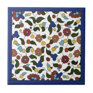 Estampado de flores armenio - azul y blanco azulejo cuadrado pequeño
