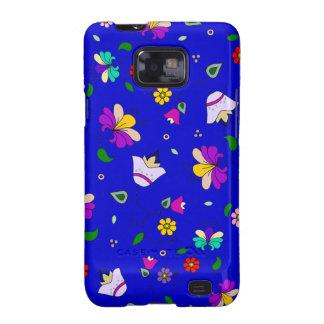 estampado de flores Armenio-inspirado - azul marin Samsung Galaxy SII Fundas