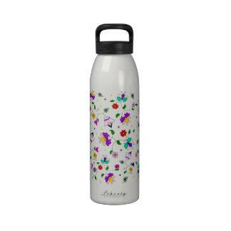estampado de flores Armenio-inspirado - blanco Botellas De Agua Reutilizables