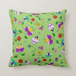 estampado de flores Armenio-inspirado - verde Almohada