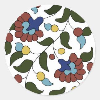 Estampado de flores armenio pegatina redonda