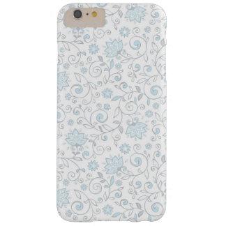 Estampado de flores azul blanco elegante funda para iPhone 6 plus barely there