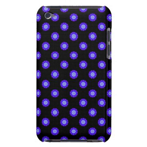 estampado de flores azul brillante en negro iPod touch Case-Mate cárcasa