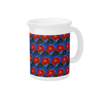 Estampado de flores. Azul con la flor roja de la a Jarra De Beber