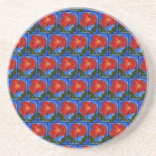 Estampado de flores. Azul con la flor roja de la a Posavasos Diseño