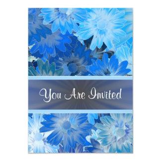 Estampado de flores azul cualquier ocasión invitación 11,4 x 15,8 cm