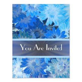 Estampado de flores azul cualquier ocasión invitación 10,8 x 13,9 cm