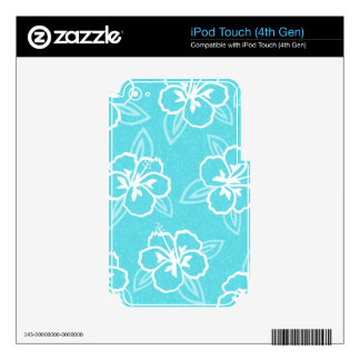 Estampado de flores azul del hibisco calcomanías para iPod touch 4G