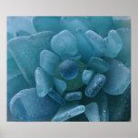 Estampado de flores azul del vidrio del mar posters